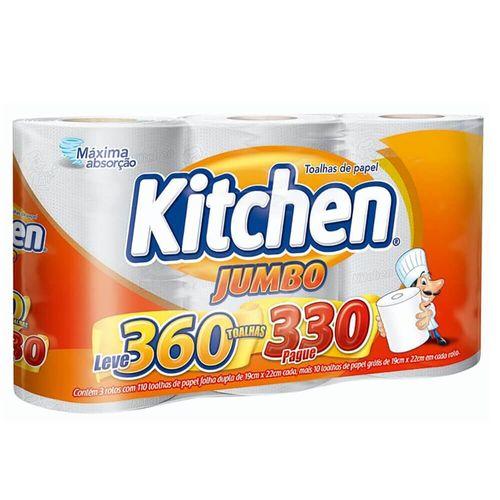 Toalha de Papel Jumbo Folha Dupla Kitchen - 3 Unidades Pague 330 Leve 360