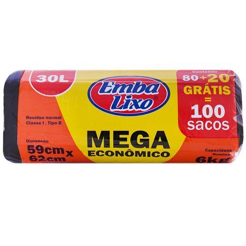 Saco para Lixo 30L Mega Econômico Embalixo - 80 Unidades + 20 Unidades Grátis