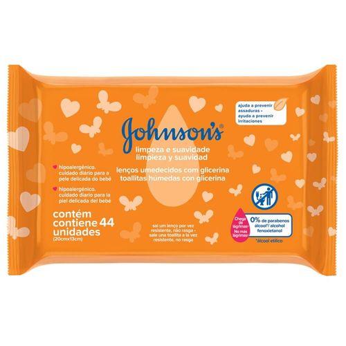 Lenço Umedecido Limpeza e Suavidade Johnson's Baby - 44 Unidades