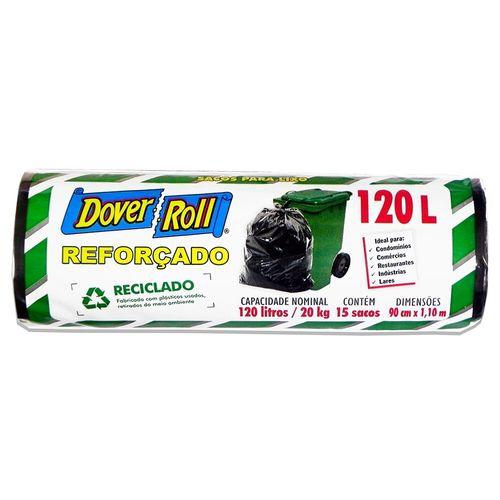 Saco para Lixo Reforçado Reciclado Preto Rolo Dover - 120L