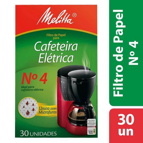 Filtro de Papel para Cafeteira Elétrica Nº 4 Melitta - 30 Unidades