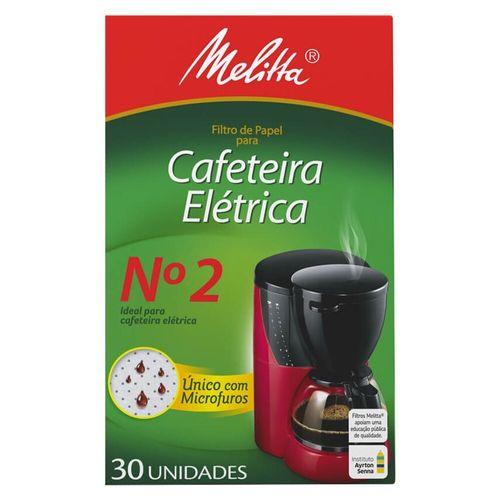 Filtro de Papel para Cafeteira Elétrica Nº 2 Melitta - 30 Unidades