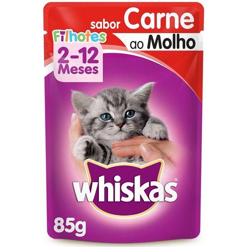 Ração Úmida para Gato Filhote Sabor Carne Whiskas Sachê 85G